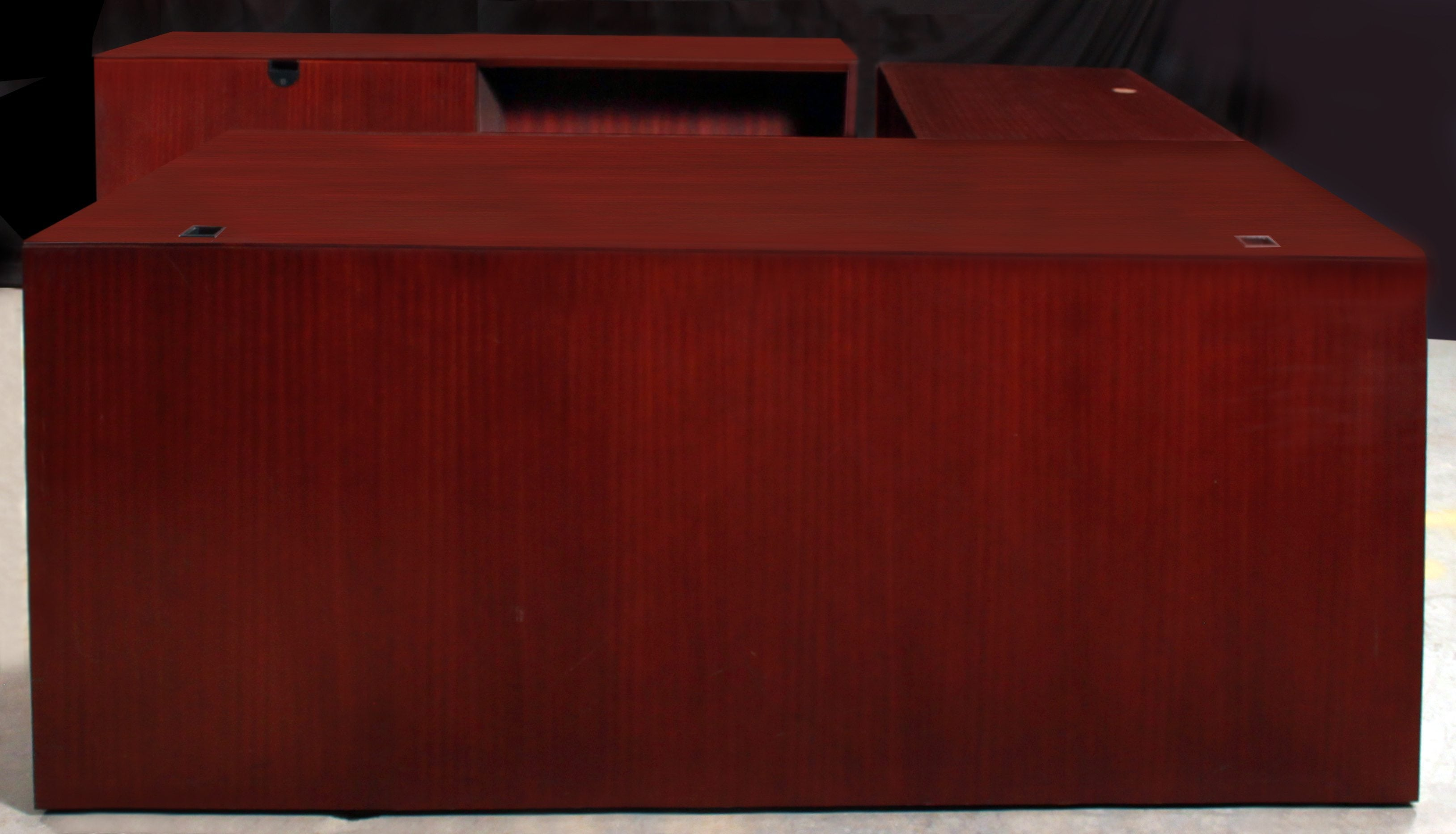 Steelcase Used Mahogany Wood L Shaped Desk With Lateral