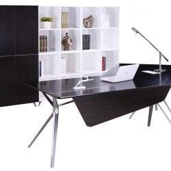 Louis Left Return Veneer L Shape Desk Black