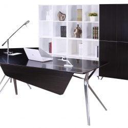 Louis Right Return Veneer L Shape Desk Black
