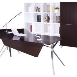 Louis Right Return Veneer L Shape Desk Wenge
