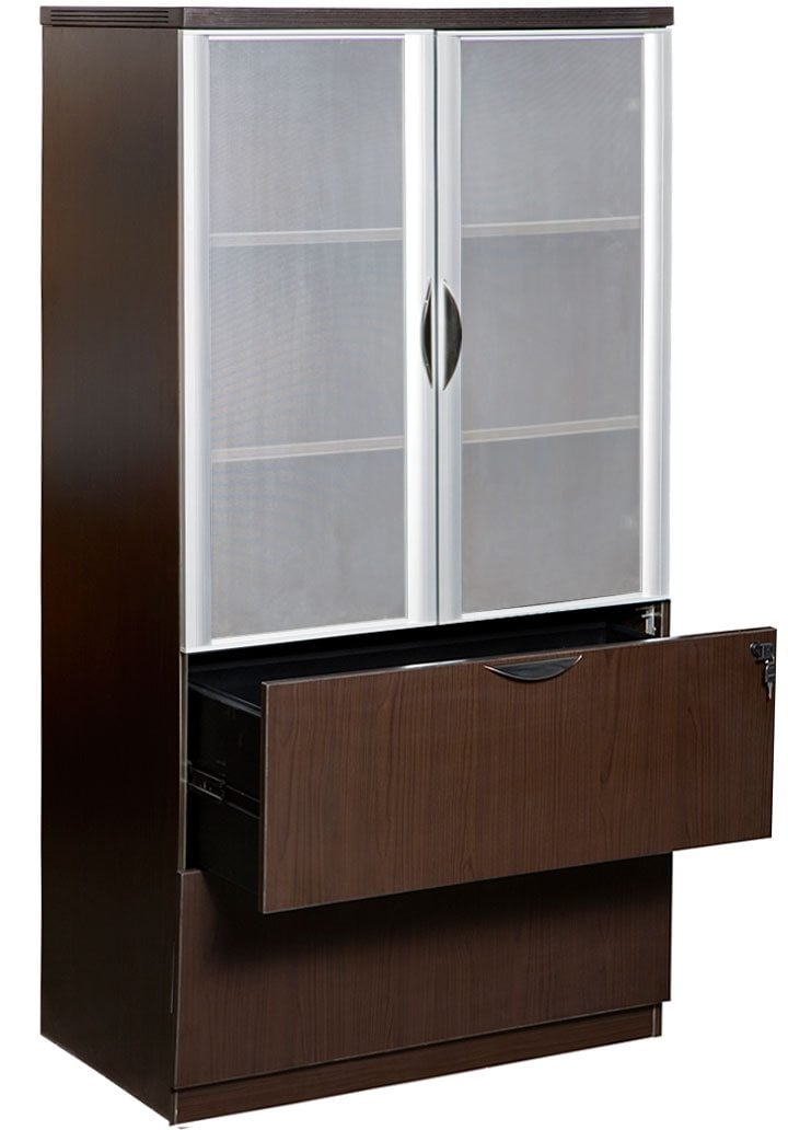 0901 New Espresso Laminate 2 Drawer Lateral File With Glass Door Hutch