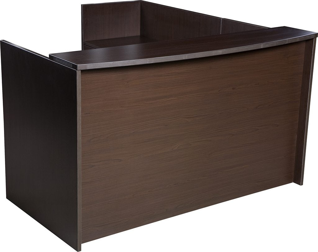 0901 New Espresso Laminate L Shape Reception Desk