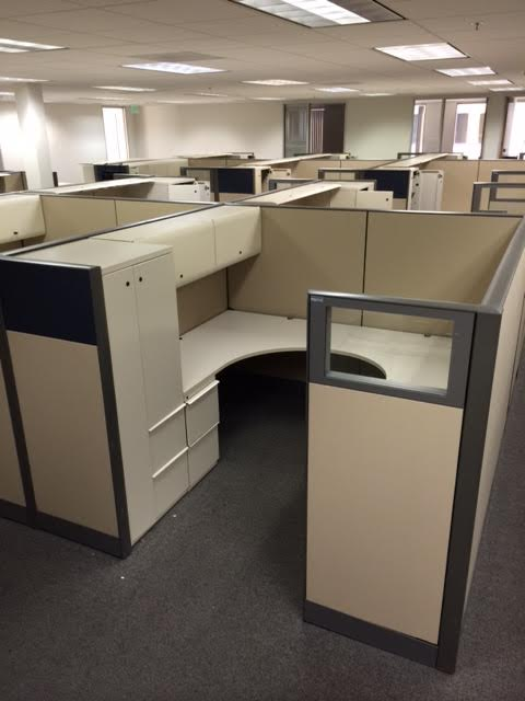 row of 2 knoll dividends used cubicles  799 each station  putty