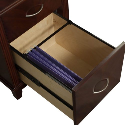 Arlington Office Desk Set Series In Walnut Color With Open Drawer Filing Left to Right