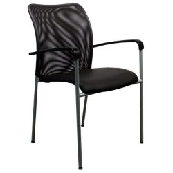 Dylan by goSIT Mesh and Leatherette New Stackable Side Chair Black Front View