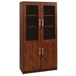 Everyday Cherry 65 inch Laminate Bookcase With Glass Doors