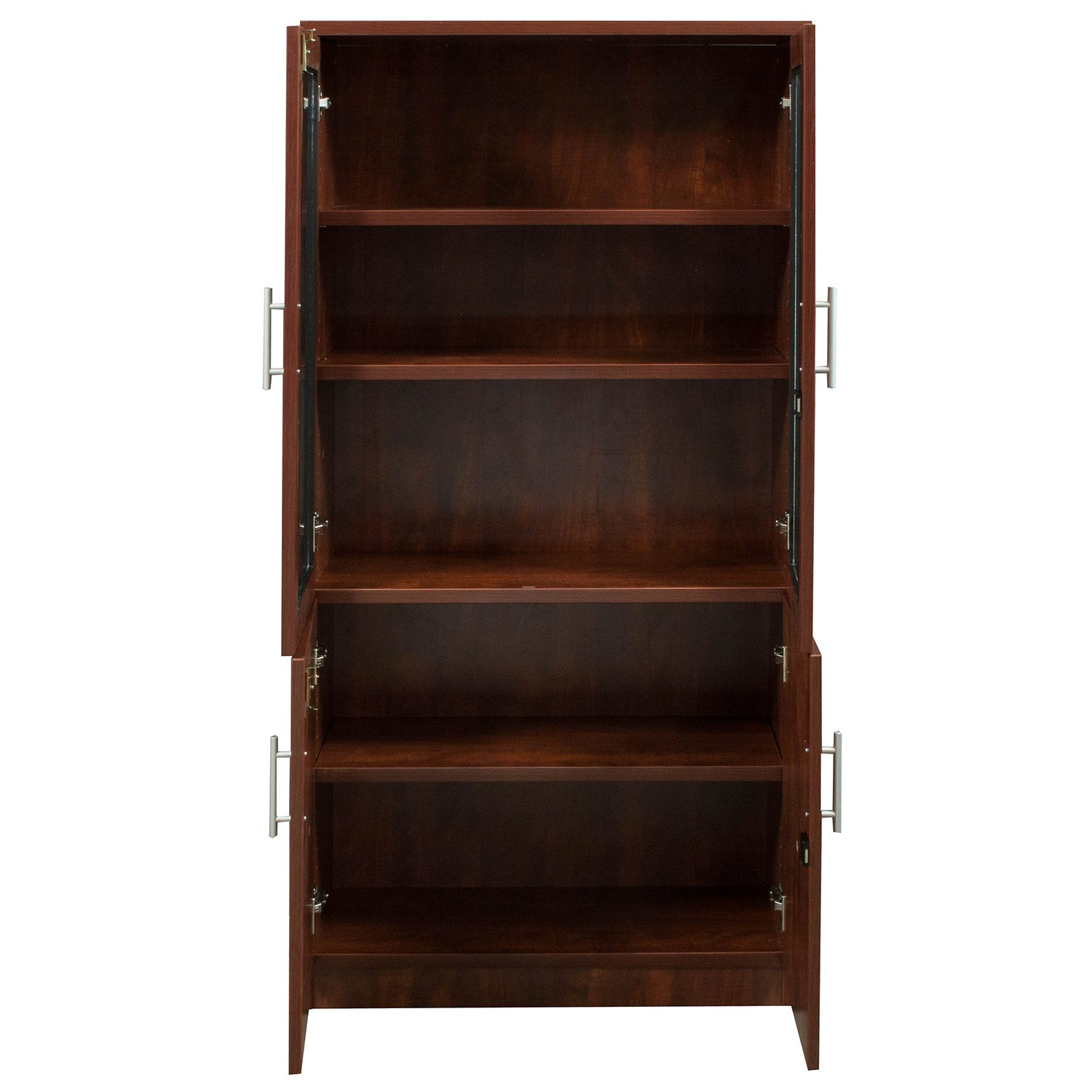 Everyday 65 In Laminate Bookcase With Glass Doors Cherry National