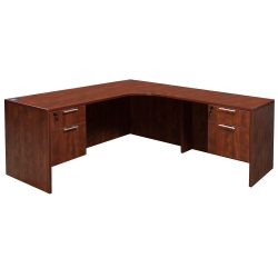 Everyday Cherry Right Return Laminate Corner Desk L Shape With Computer Corner