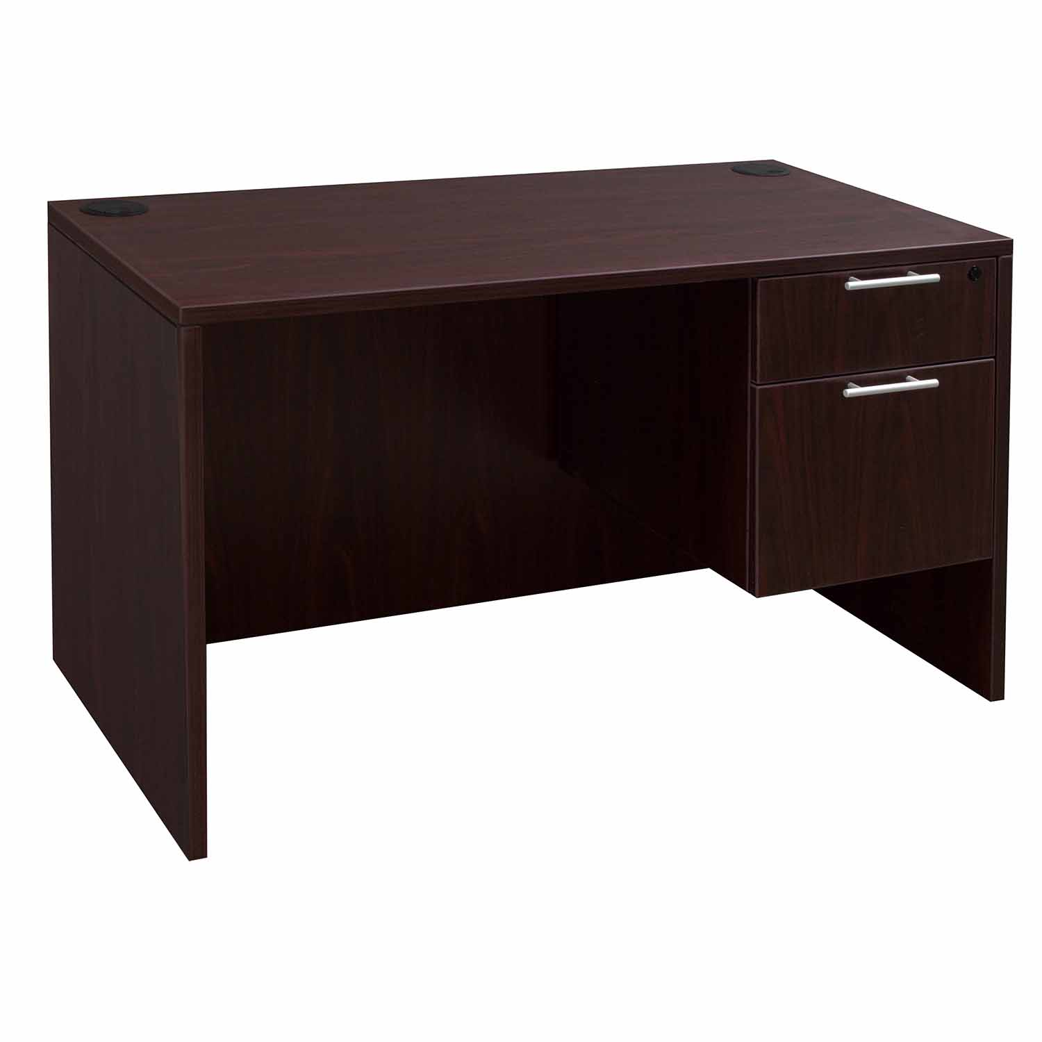 Everyday 24 215 48 Single Pedestal Laminate Desk Mahogany