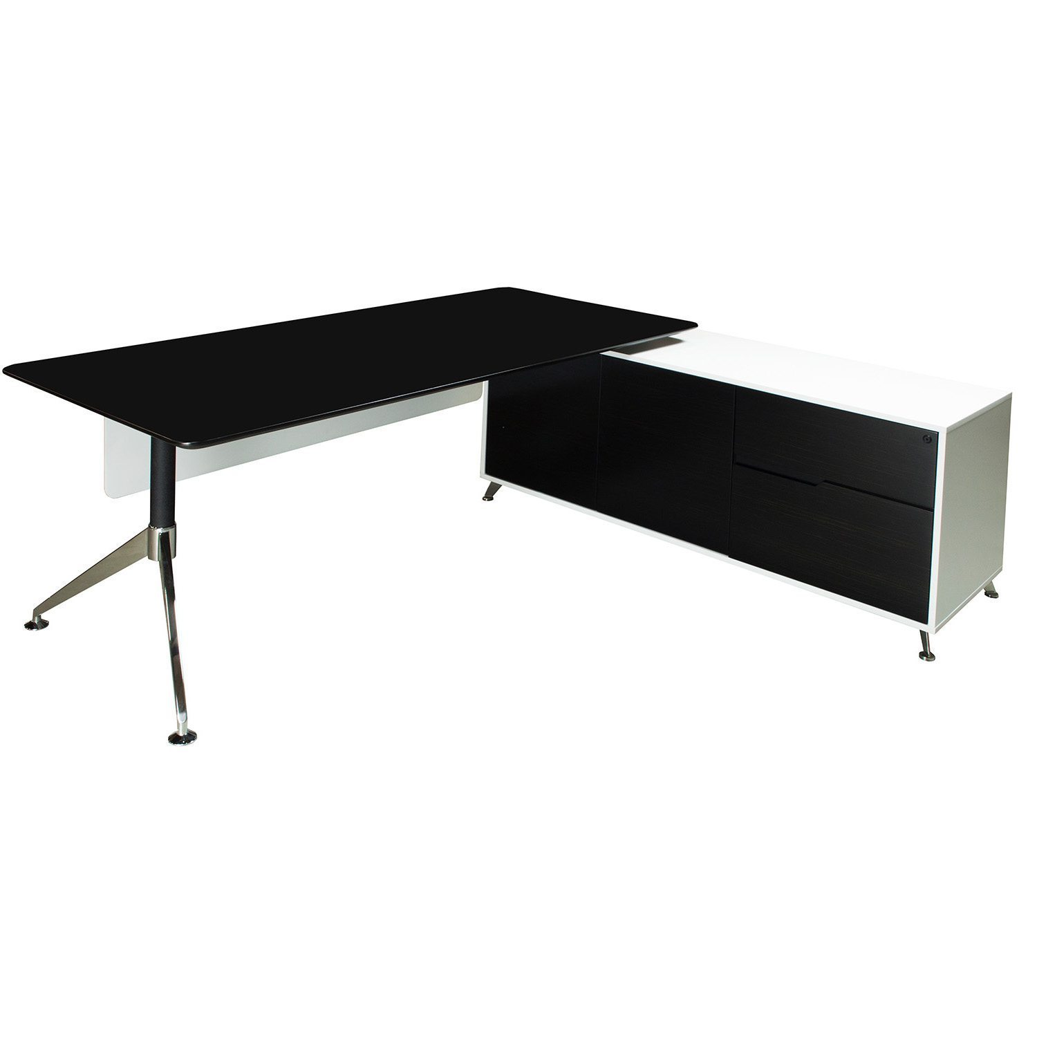 brand new 618db 27a6f Morgan Executive Right Return Veneer L Shape Desk, Black