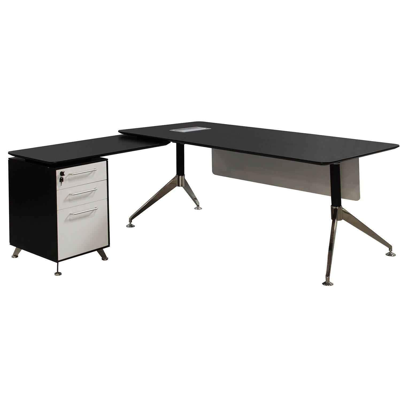 Morgan Director Left Return Melamine L Shape Desk Black