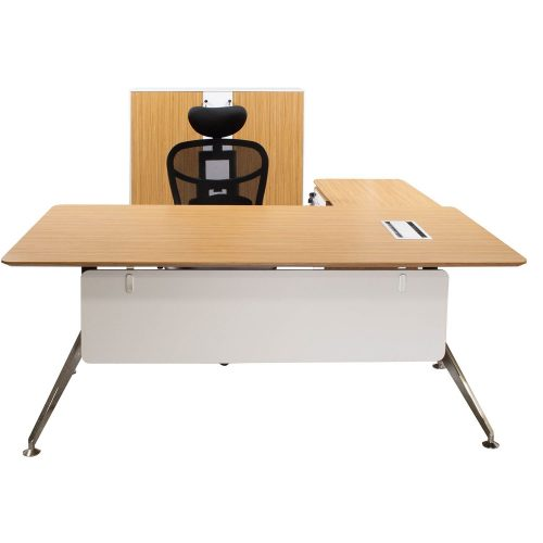 Morgan Director Left Return Zebra and White Melamine L Shape Desk with black chair and storage cabinet