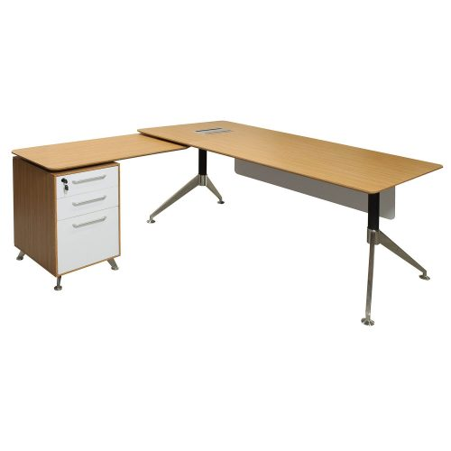 Morgan Director Left Return Zebra and White Melamine L Shape Desk