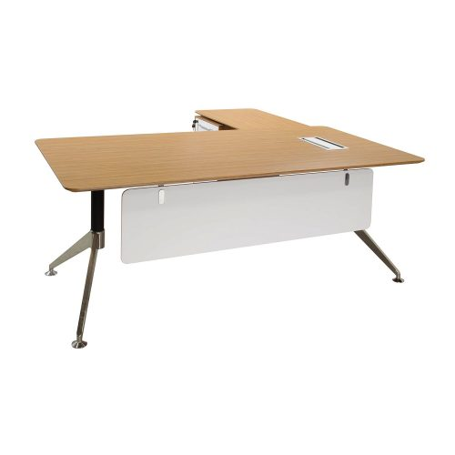Morgan Director Left Return Zebra and White Melamine L Shape Desk Front View