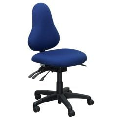 Office Master Discovery Used Armless Task Chair Blue Front View