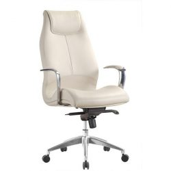 Adrian by goSit Modern Leather Executive Chair Creme Front View