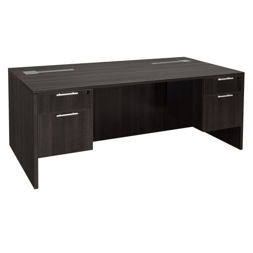 goSIT Everyday Gray 36x72 Double Pedestal Desk - Inside