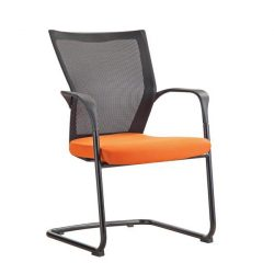 Bay by goSit Mesh Back Side Chair Orange and Black Front View