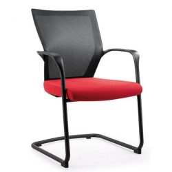 Bay by goSit Mesh Back Side Chair Red and Black Front View