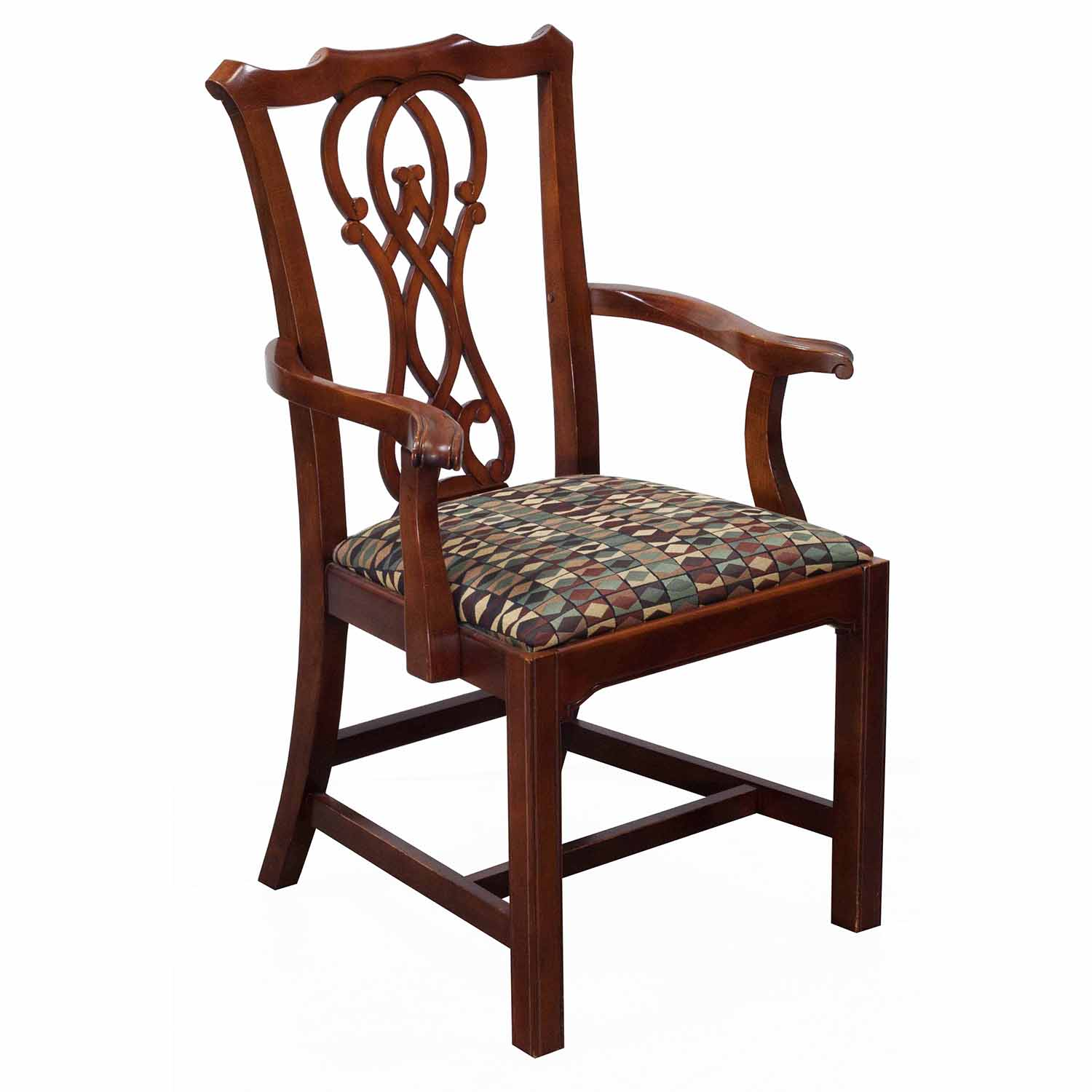 Bernhardt Eaton Square Used Wooden Arm Chair, Cherry ...
