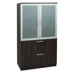 goSIT Everyday Gray 2 Drawer Lateral File With Glass Hutch