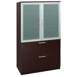 Everyday Mahogany 36 inch Laminate 2 Drawer Lateral File with Glass Door Hutch