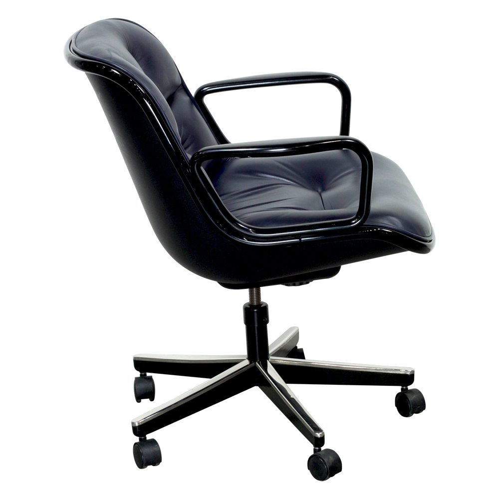 Knoll Pollock Executive Leather Used Swivel Chair, Blue