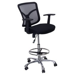 goSIT New Mesh Back Office Drafting Stool Black Front View