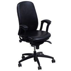 Teknion Amicus Black Leather Conference Chair - Front