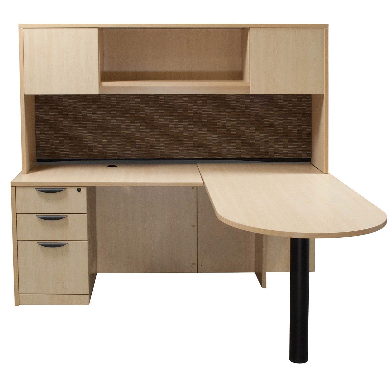 Laminate Left Return L Shape Bullet Desk With Hutch Maple