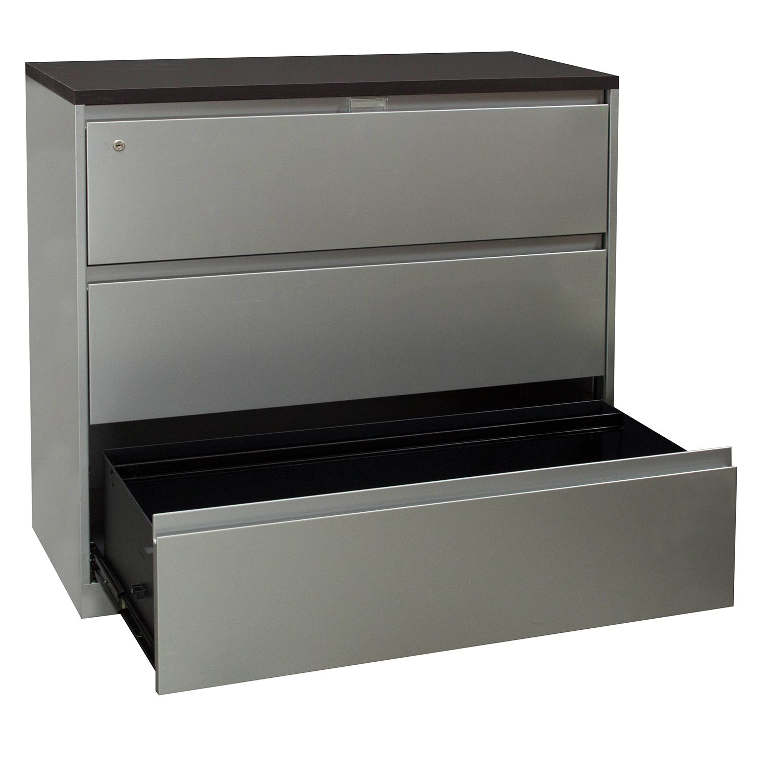 steelcase 900 series used 3 drawer lateral file with espresso laminate top  silver