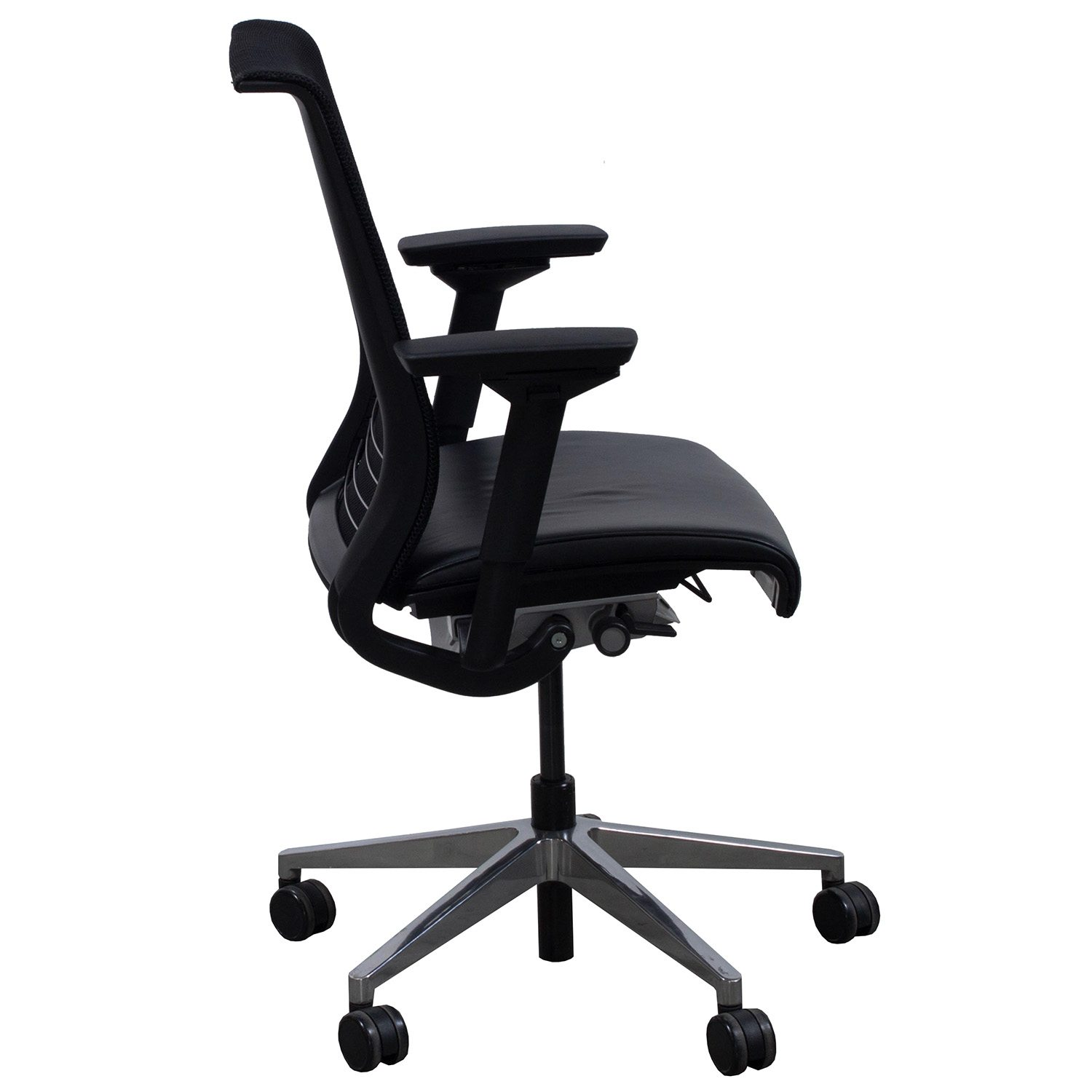 Steelcase Think Used Leather And Mesh Task Chair Black