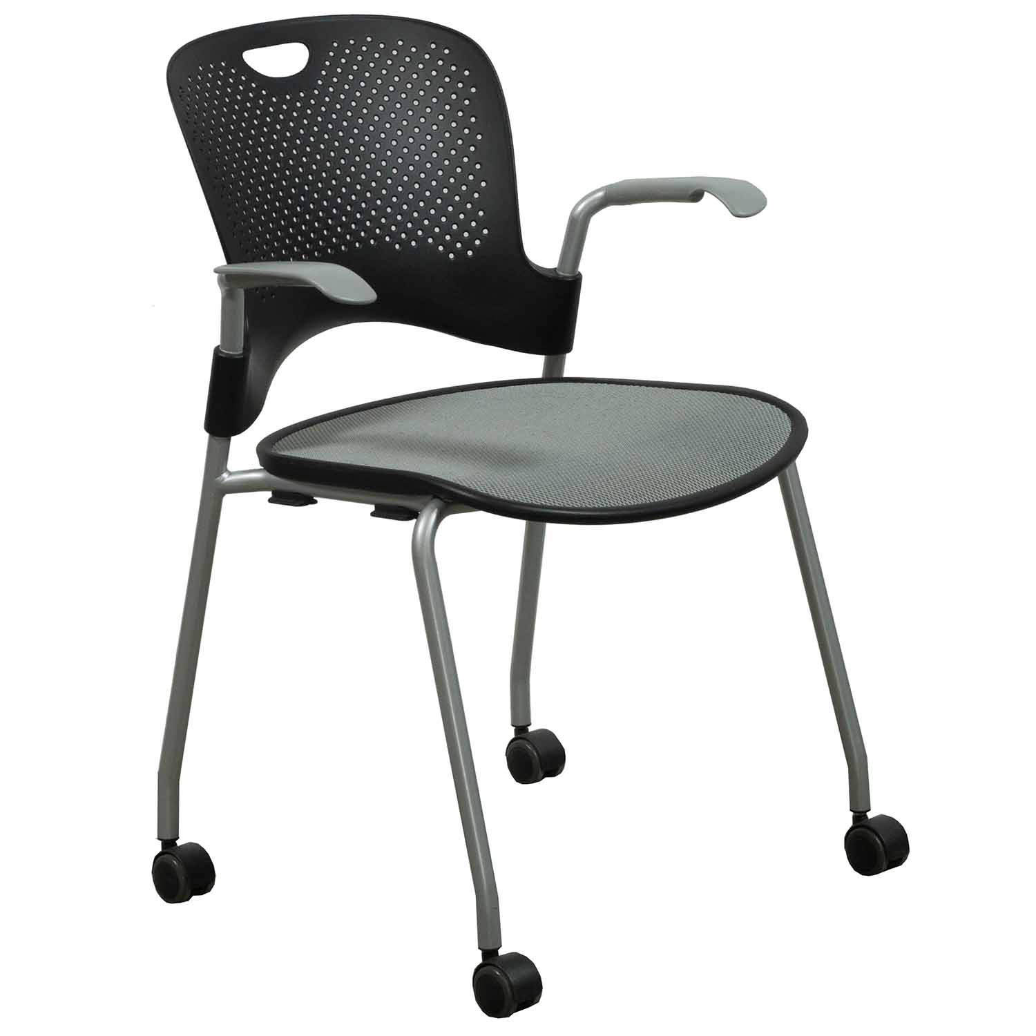 Herman Miller Caper Used Mobile Stack Chair Black And