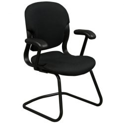 Herman Miller Equa Used Sled Base Side Chair Black Front View