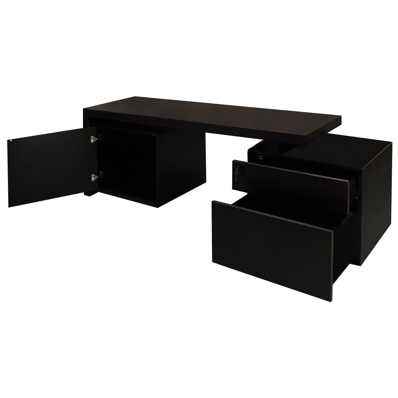 Modern Wood Veneer Credenza, Black
