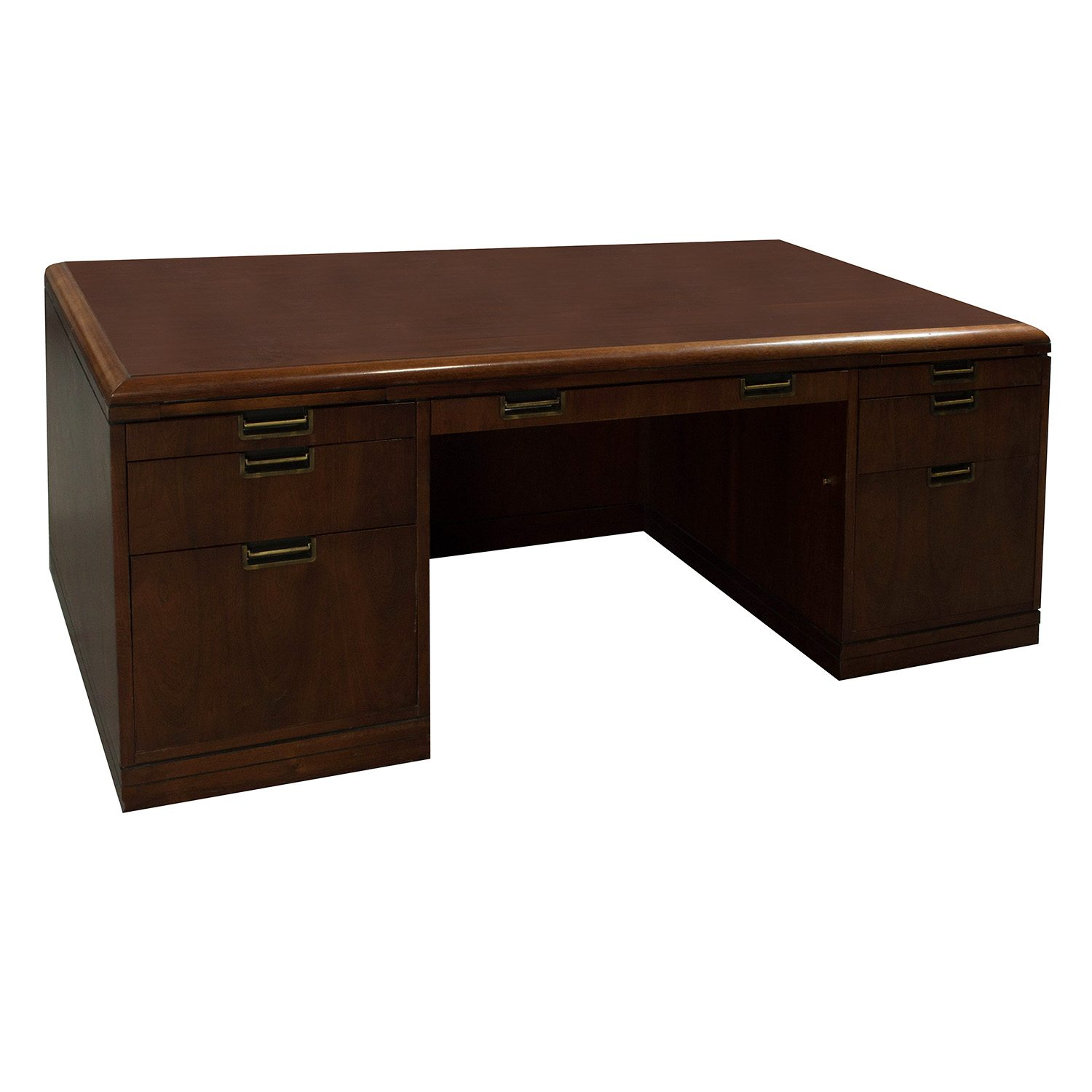 Jofco Used Veneer Double Pedestal Desk With Credenza