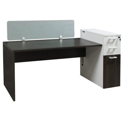 Morgan Laminate Desk Station Gray and White