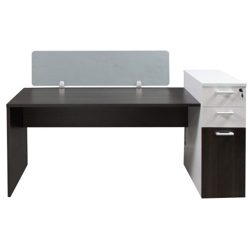 Morgan Laminate Desk Station Gray and White Front View