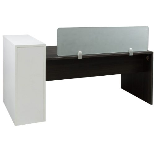 Morgan Laminate Desk Station Gray and White Back View