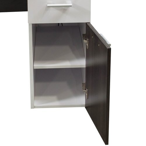 Morgan Laminate Desk Station Gray and White Cabinet Door Open
