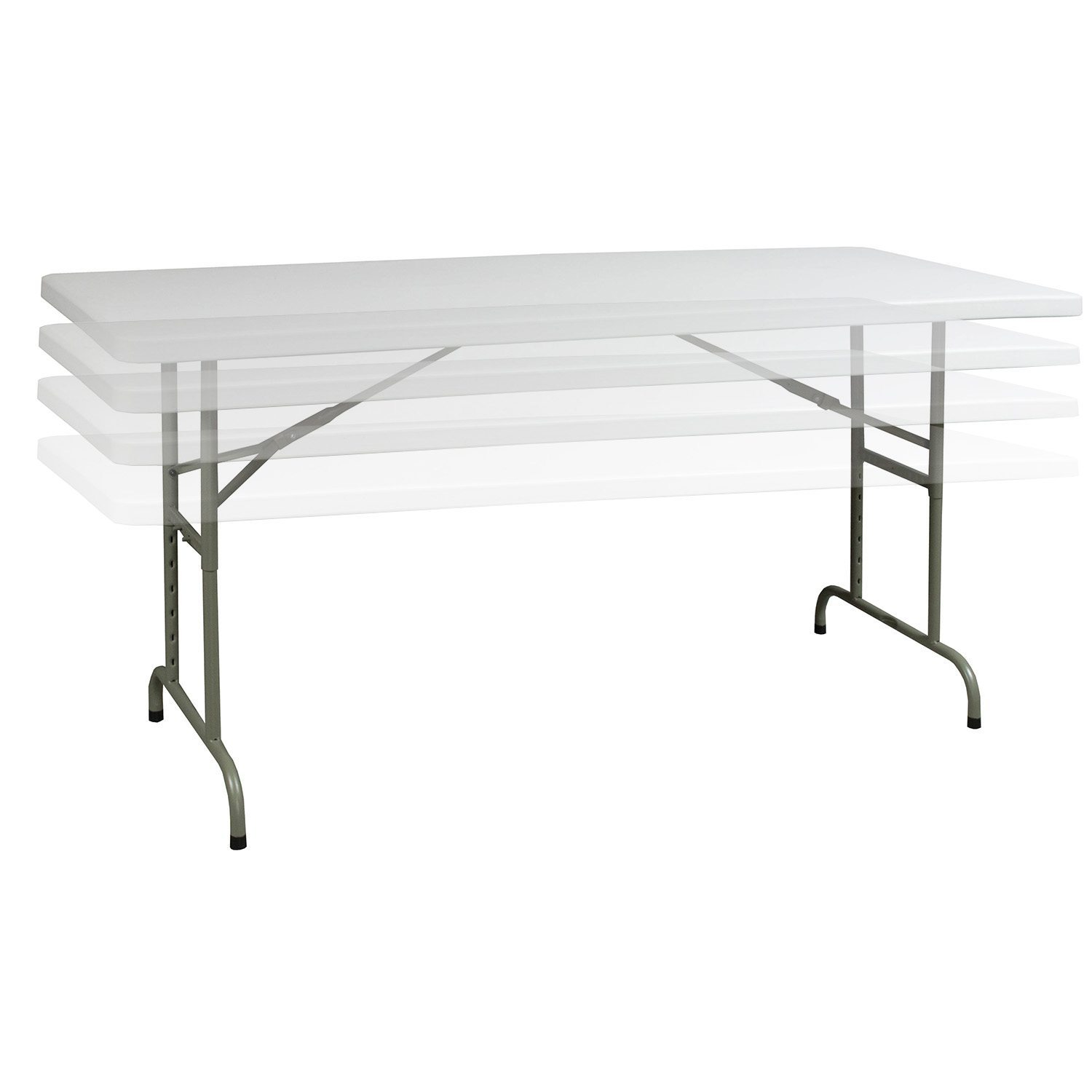 Gosit Adjustable Height Plastic 30 X 72 Folding Table White