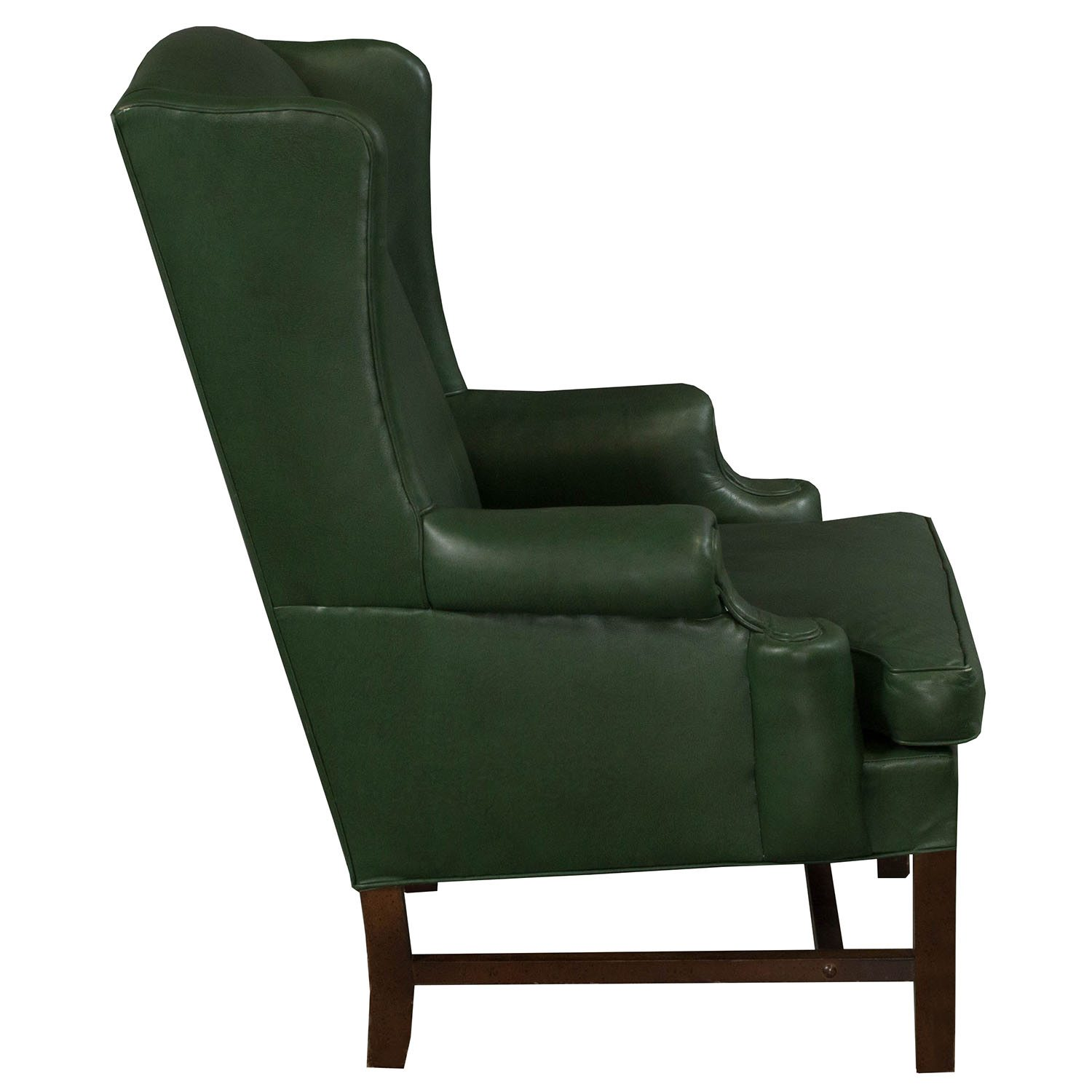 Traditional Wing Used Leather Side Chair Green National