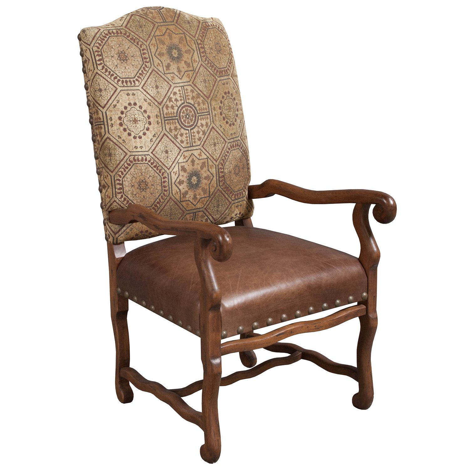 Traditional Used Leather Side Chair, Brown - National ...