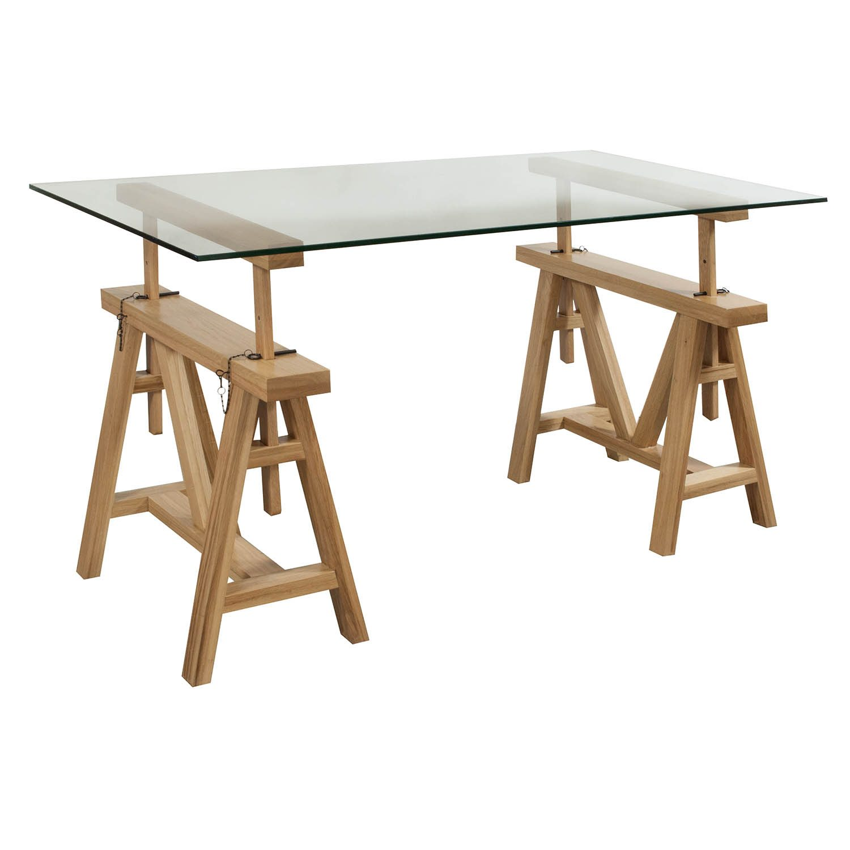 GoSIT 30x60 Glass Top Desk, White Oak