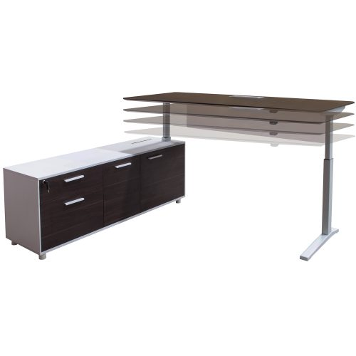 Denmark Lifting Manager Desk Left Return Walnut and White Showing Different Height Levels
