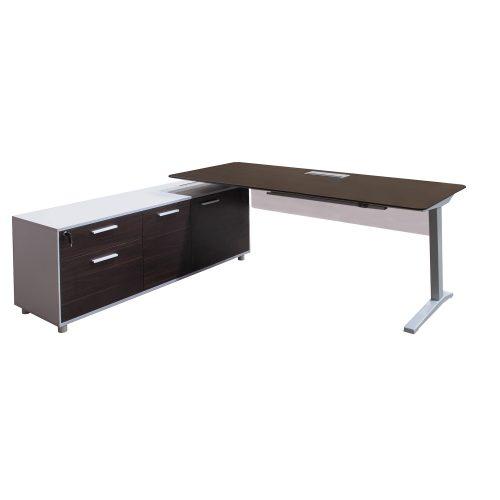 Denmark Lifting Manager Desk Left Return Walnut and White no standing