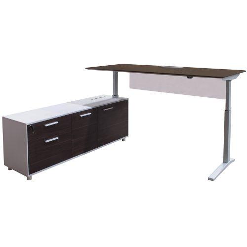 Denmark Lifting Manager Desk Left Return Walnut and White fully standing