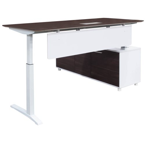 Denmark Lifting Manager Desk Left Return Walnut and White Front View