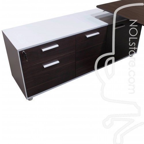 Denmark Lifting Manager Desk Walnut and White Close up on credenza