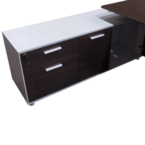 Denmark Lifting Manager Desk Walnut and White Close up on credenza with right cupboard open